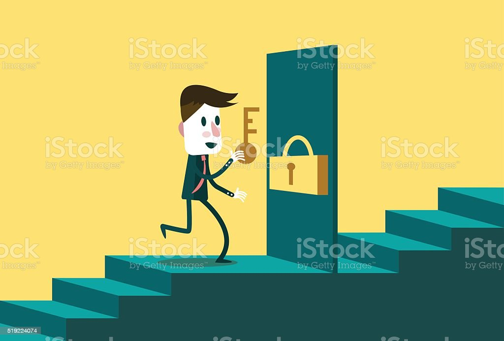 Businessman with the key open the door to next step. vector art illustration