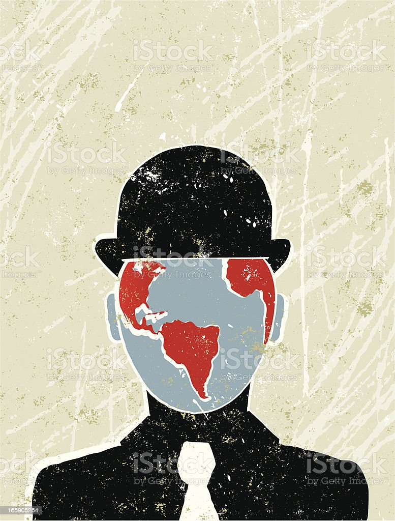 Businessman with the world as his face royalty-free stock vector art