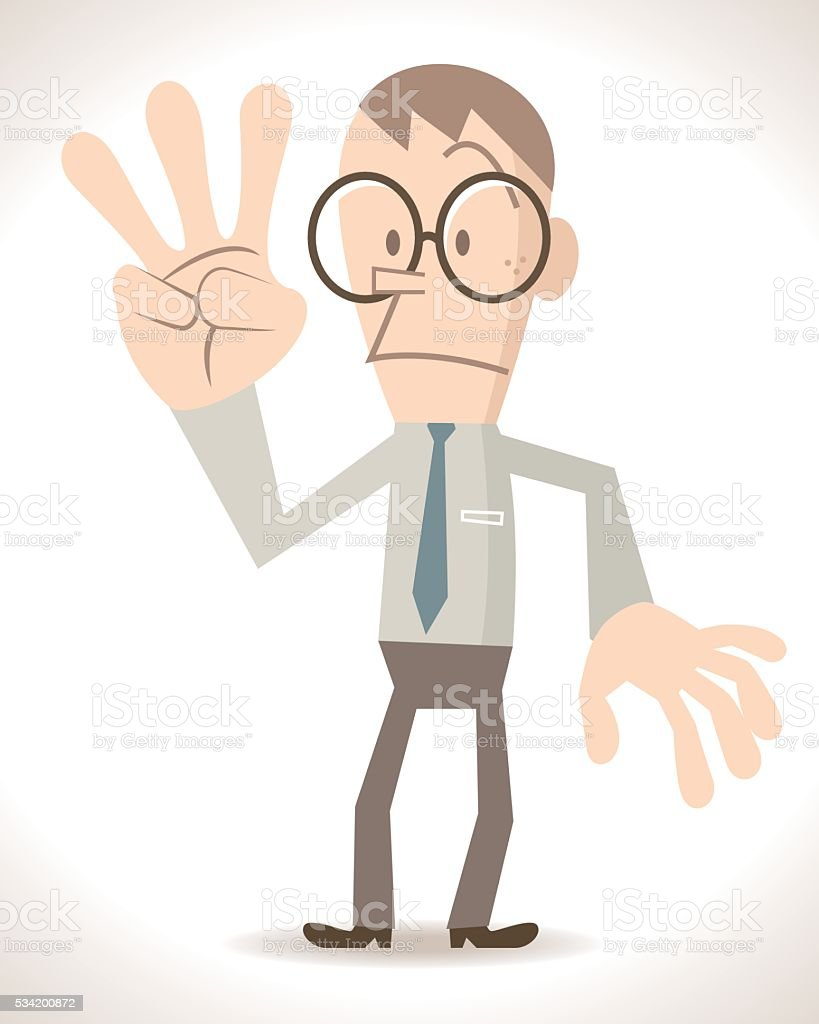 Businessman with three finger up, counting number 3 or 6 vector art illustration
