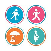 Businessman with umbrella. Human running symbol.