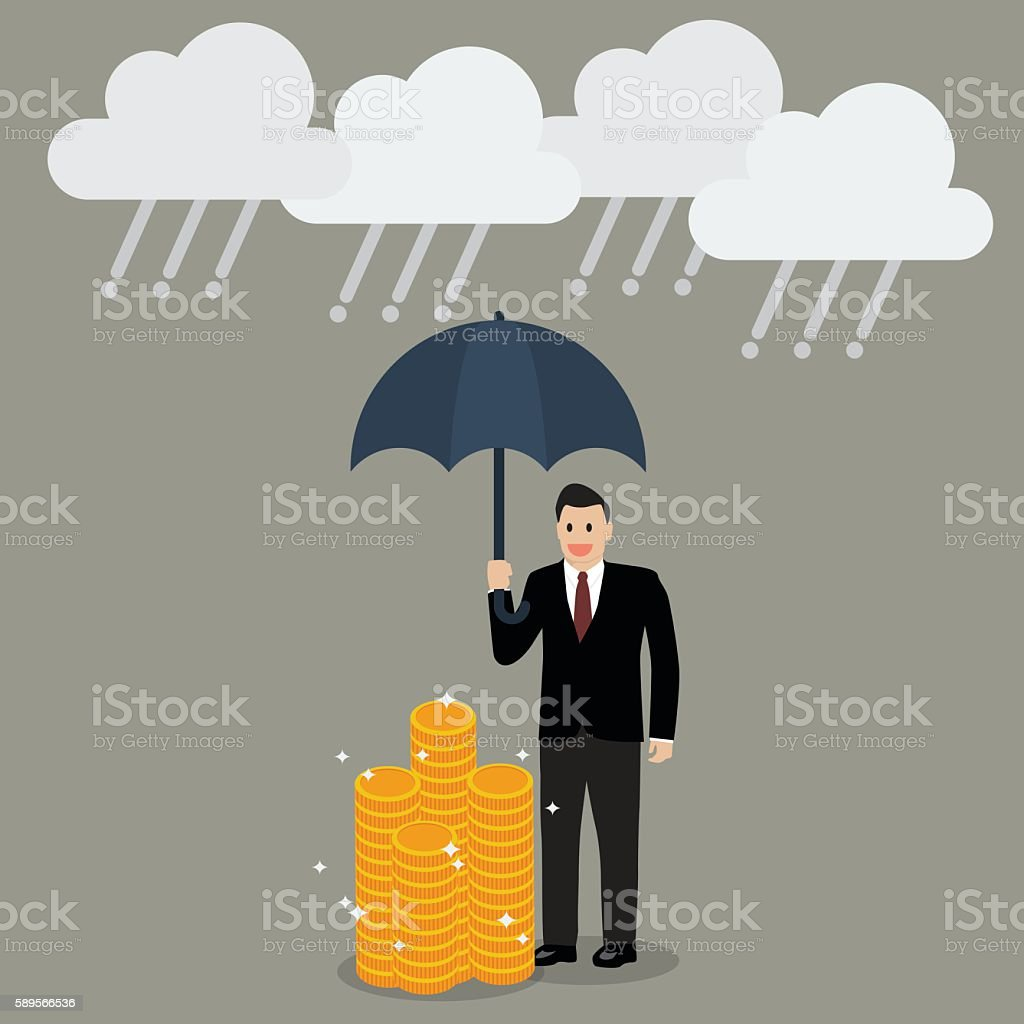Businessman with umbrella protecting his money from financial cr vector art illustration