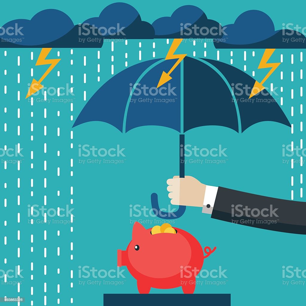 Businessman with umbrella protecting his piggy bank. Saving money concept vector art illustration