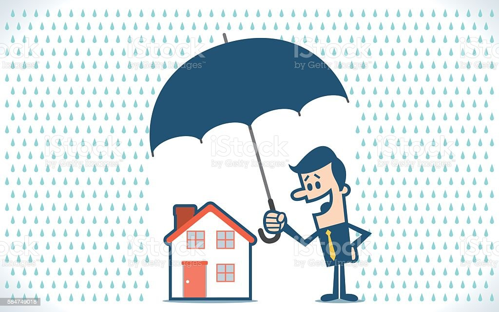 Businessman with umbrella protecting house vector art illustration