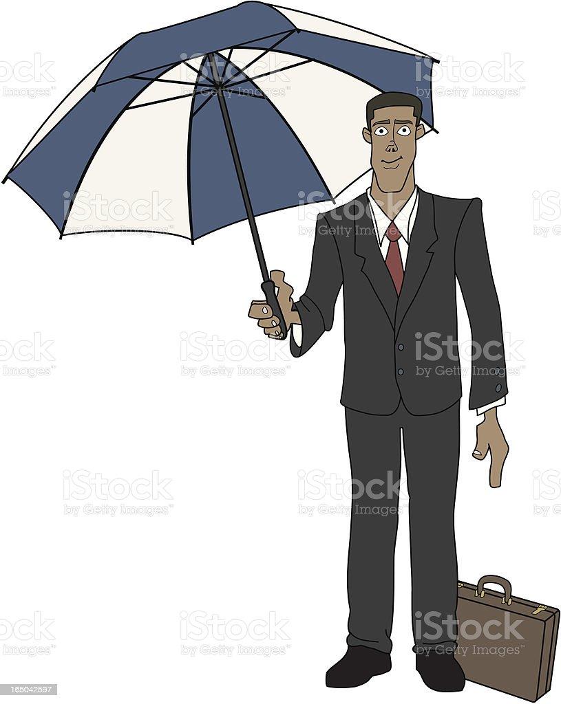 Businessman with Umbrella vector art illustration