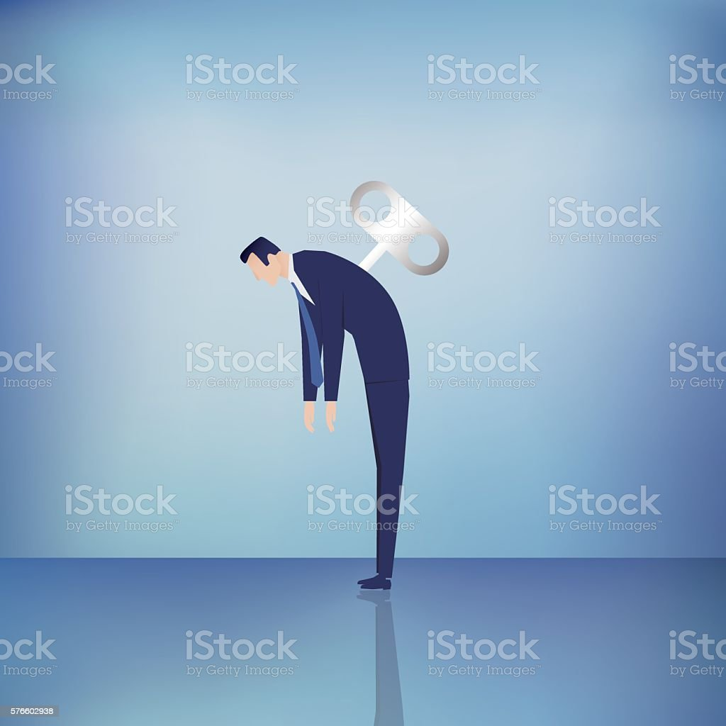 Businessman with winder vector art illustration