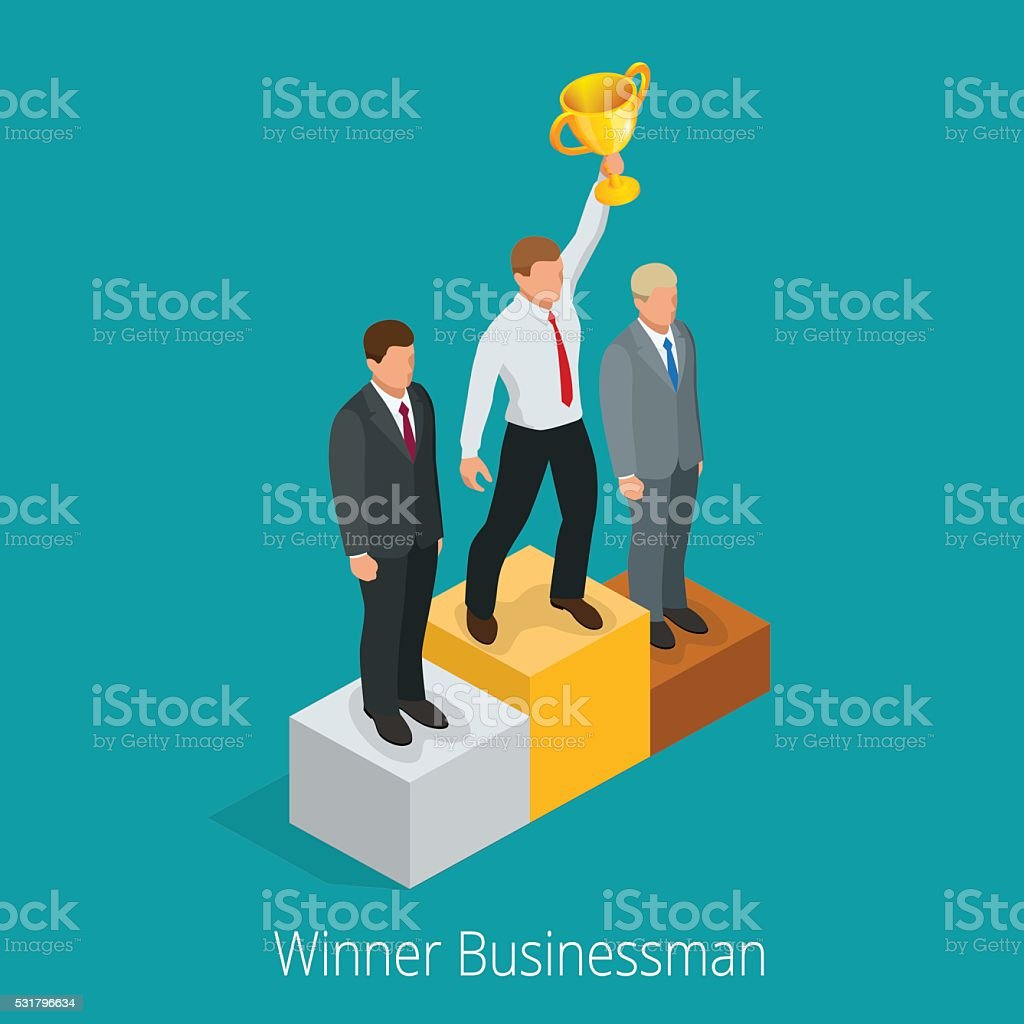 Businessman with Winner cup. vector art illustration