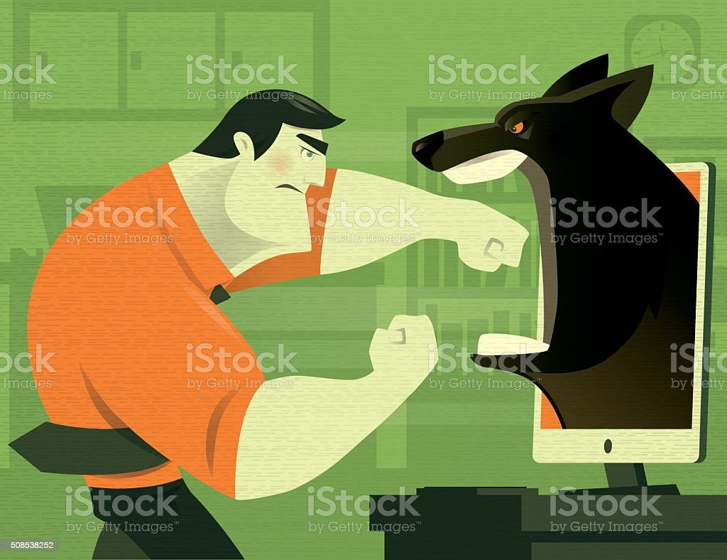 businessman with wolf vector art illustration