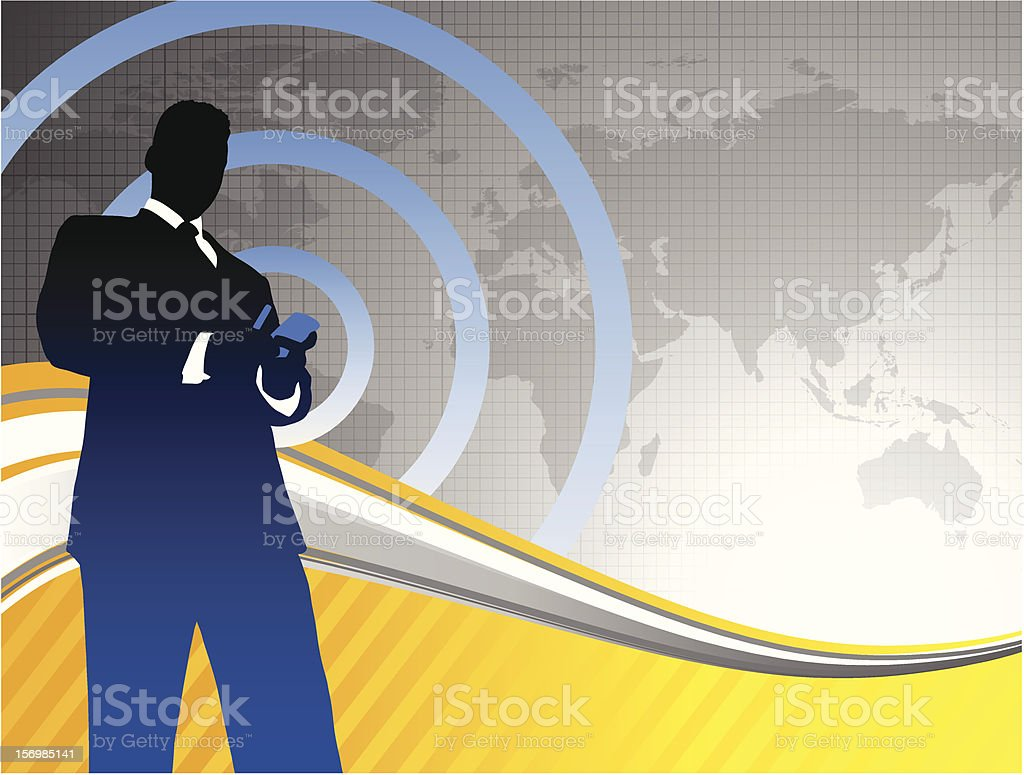 Businessman with World Map Background royalty-free stock vector art