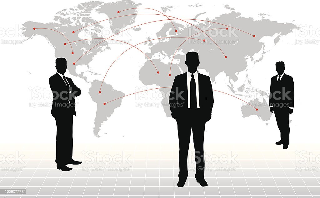Businessman with world map on background royalty-free stock vector art