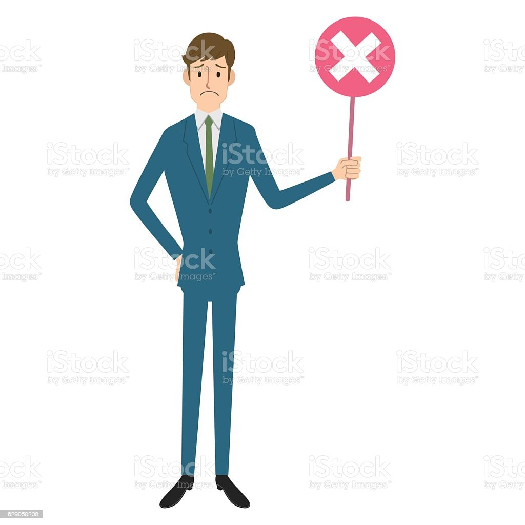 Businessman with wrong mark vector art illustration