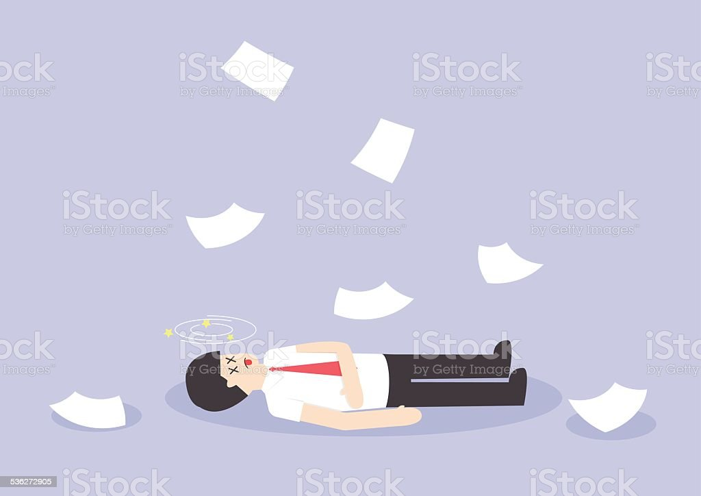 Businessman work hard and unconscious on the floor vector art illustration