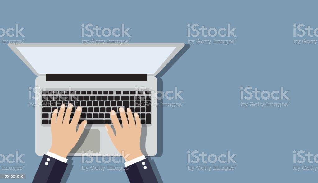 Businessman working a laptop. vector art illustration