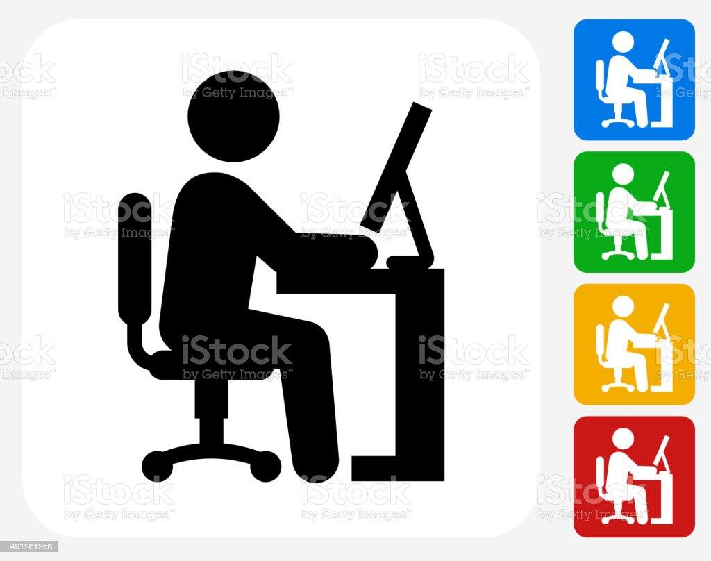 Businessman Working Icon Flat Graphic Design vector art illustration