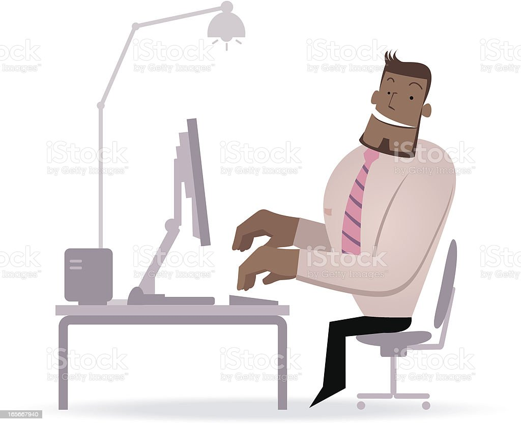 Businessman working in front of a computer ( work satisfaction ) vector art illustration