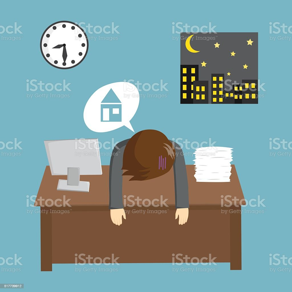 Businessman Working Late And Wan To Go Home vector art illustration