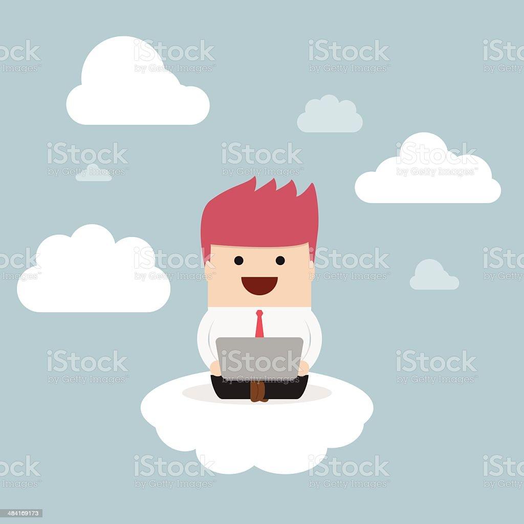 Businessman working on laptop on the cloud vector art illustration