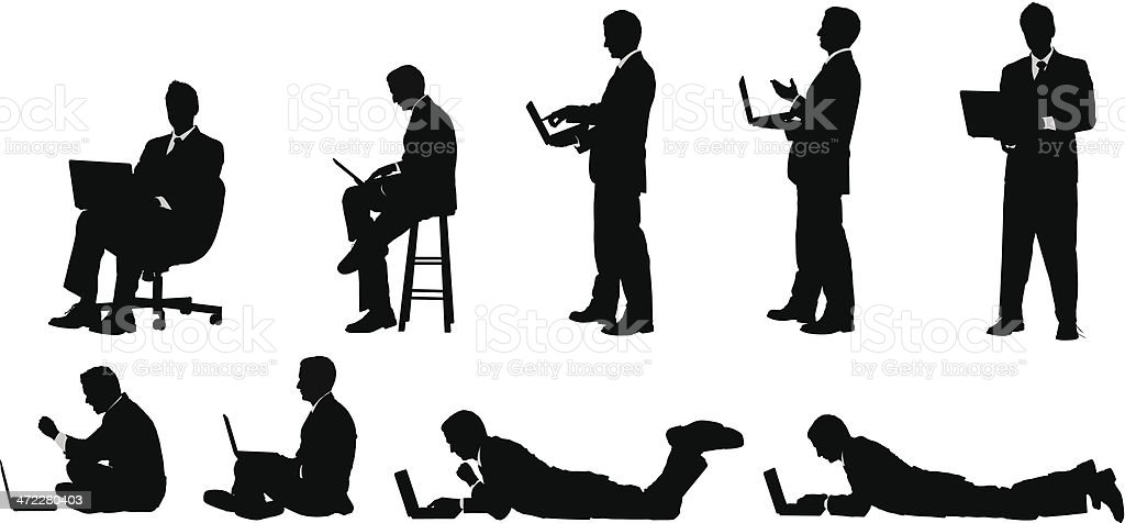 Businessman working on laptop sitting standing and lying down vector art illustration