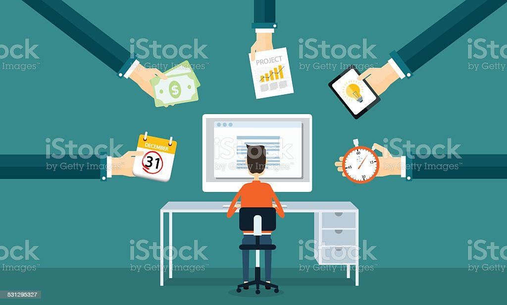 businessman working on line from order vector art illustration