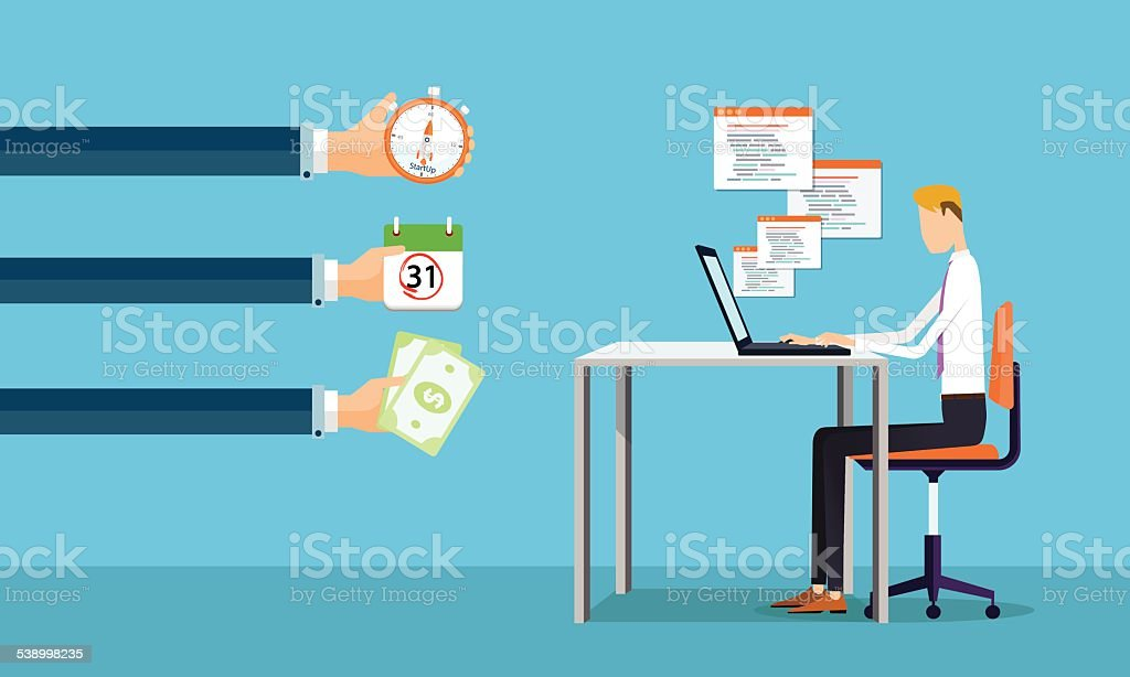 businessman working on line making earnings to business vector art illustration