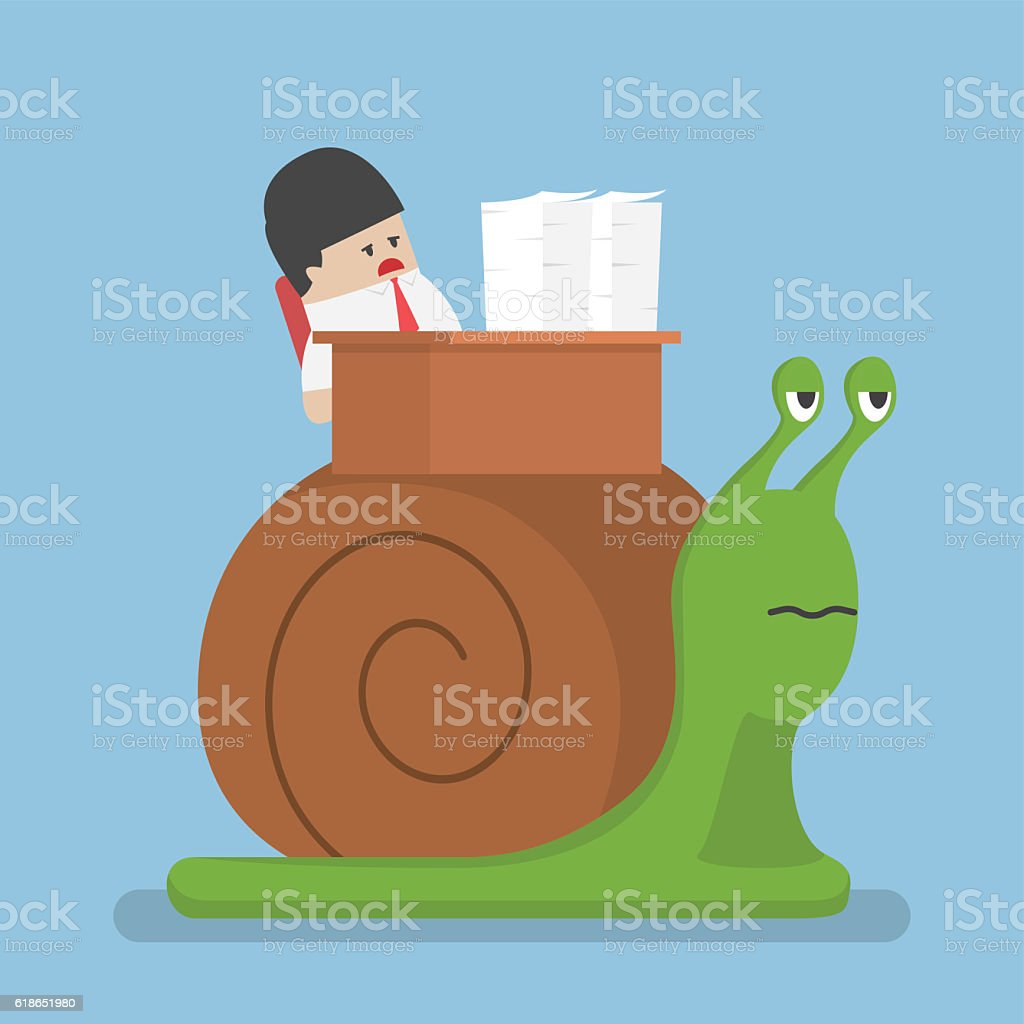 Businessman working slowly on the snail vector art illustration