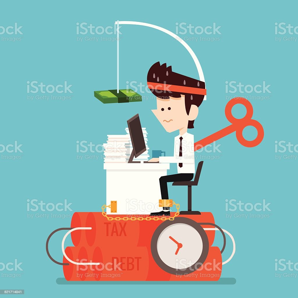 Businessman working Stressed vector art illustration