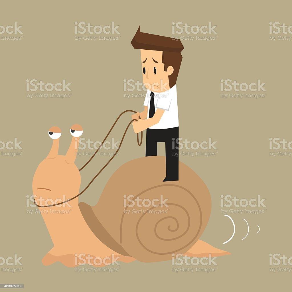 businessman works slowly like snail vector art illustration