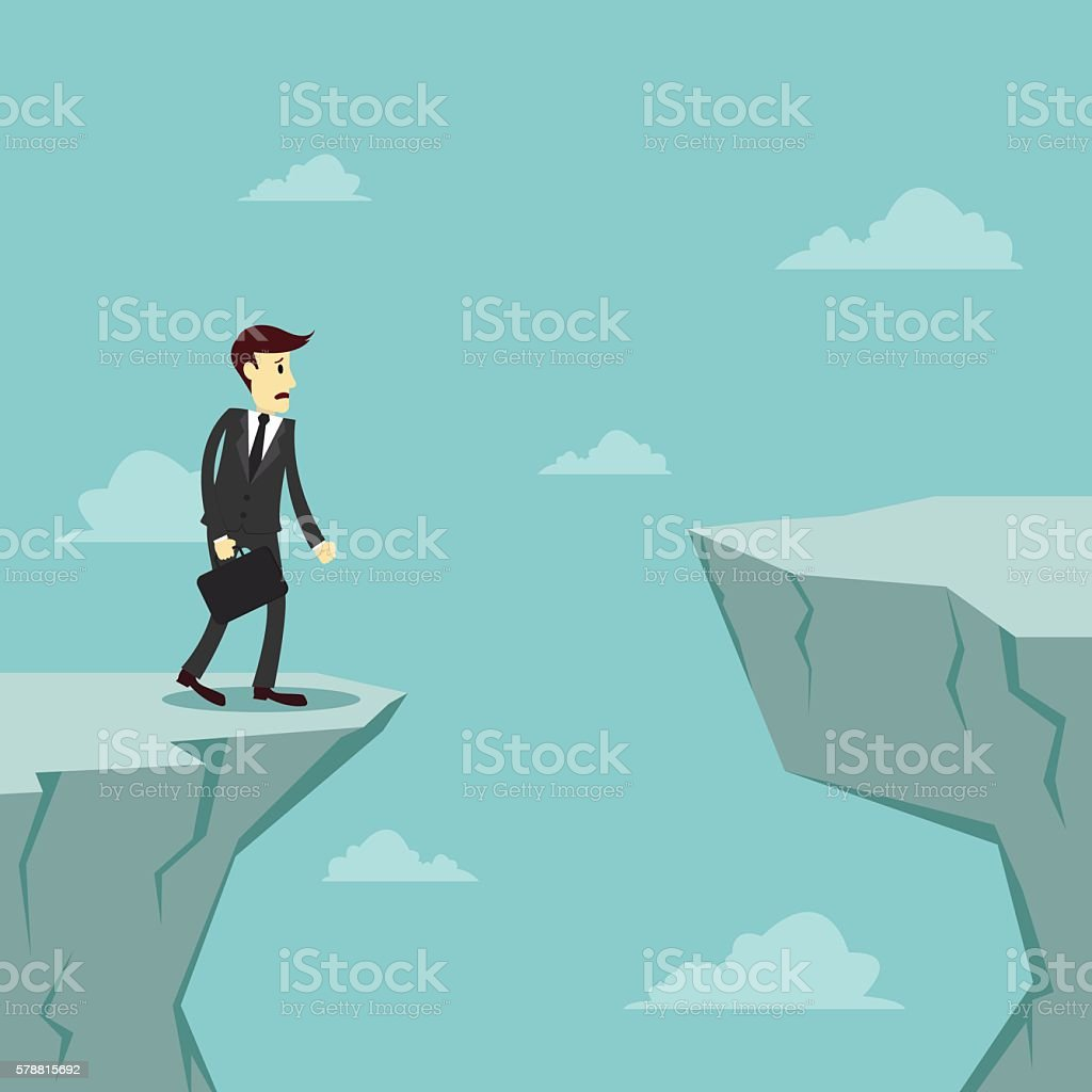 Businessman worry about how to cross over the cliff vector art illustration