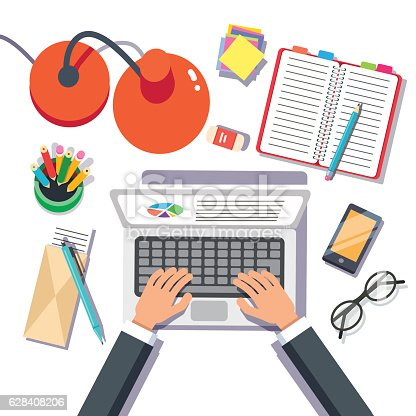 Businessman Writing Sales Or Report On A Laptop stock vector art – Sales Report Writing