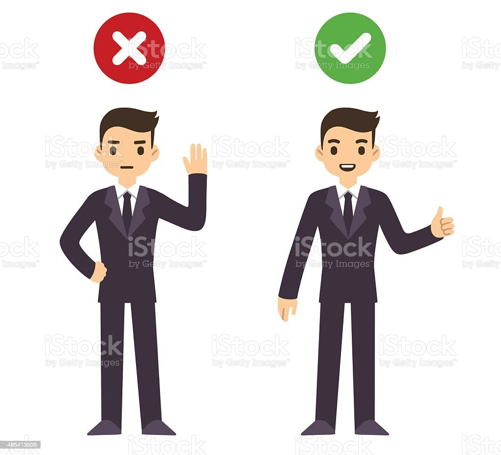 Businessman wrong and right vector art illustration
