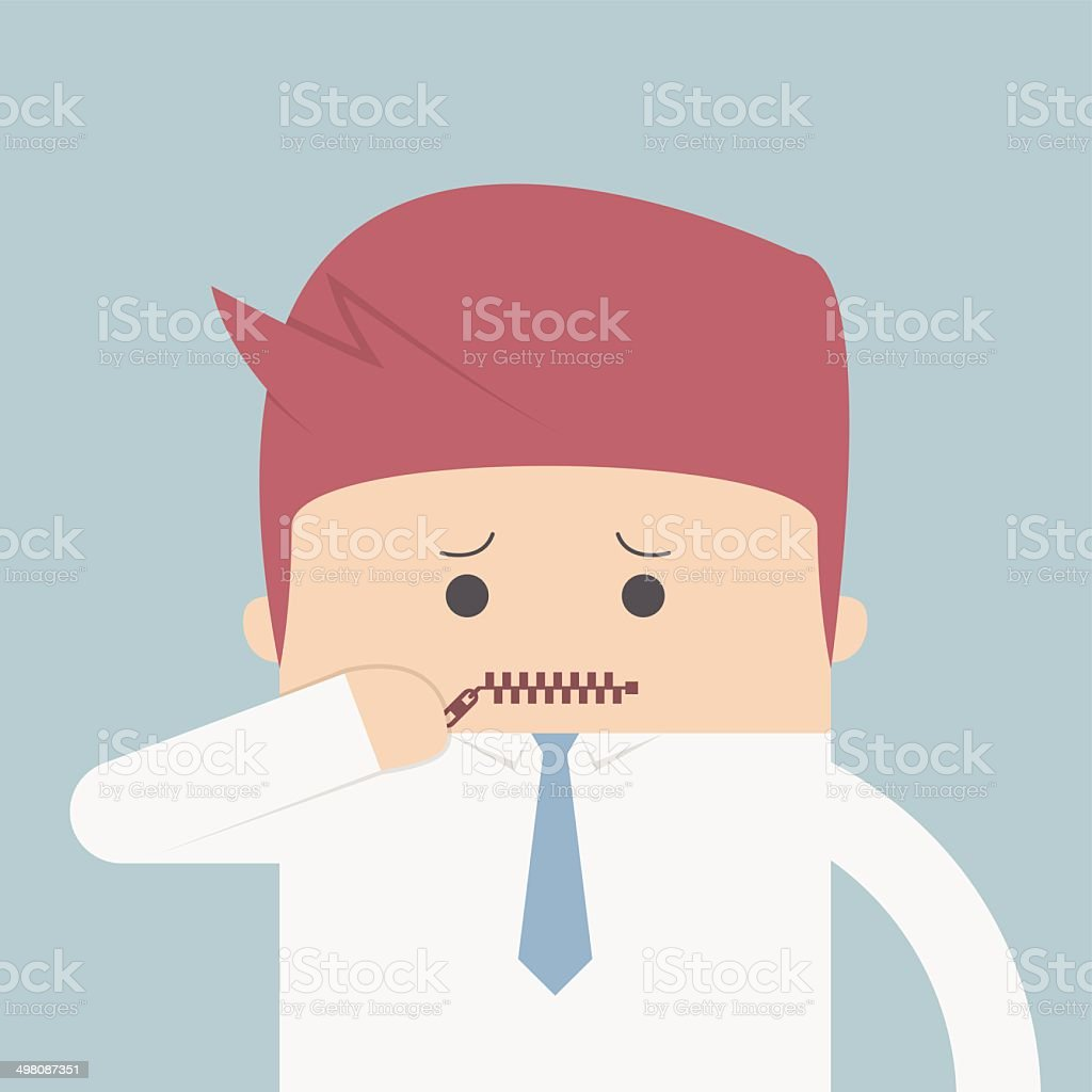 Businessman zipped his mouth, Inarticulate concept vector art illustration