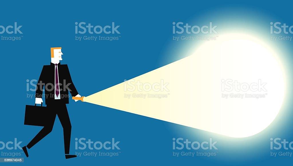 Businessman_Flashlight vector art illustration