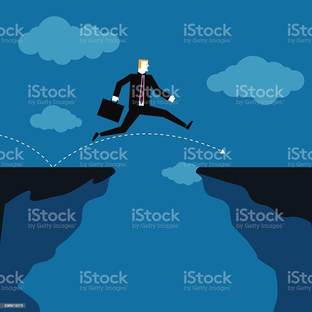 Businessman_Gaps_Jumping vector art illustration