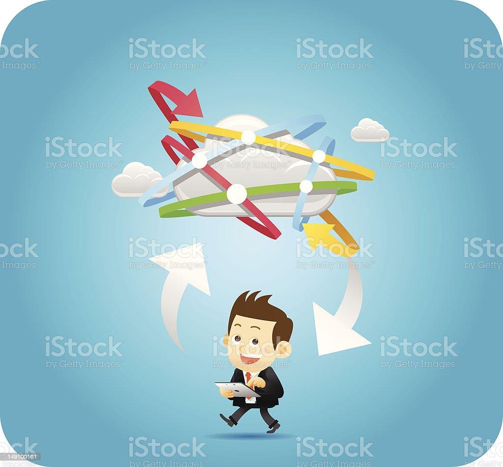 Businessman,cloud computing concept royalty-free stock vector art