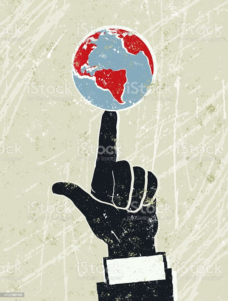Businessman's Hand With The World Spinning on His Finger royalty-free stock vector art
