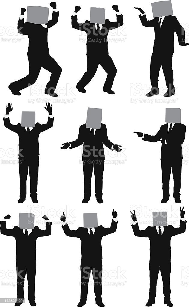 Businessman's head covered with cardboard box royalty-free stock vector art