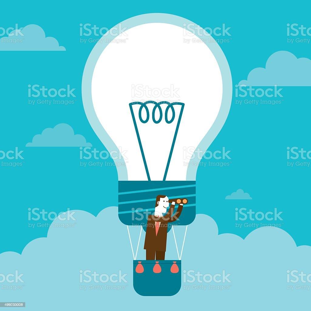 Businessman's Hot Air Bulb Balloon Outlook | New Biz vector art illustration
