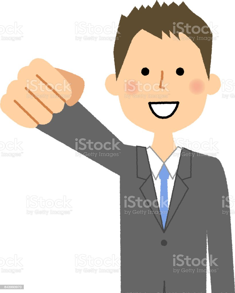 Businessman,Victory Pause vector art illustration