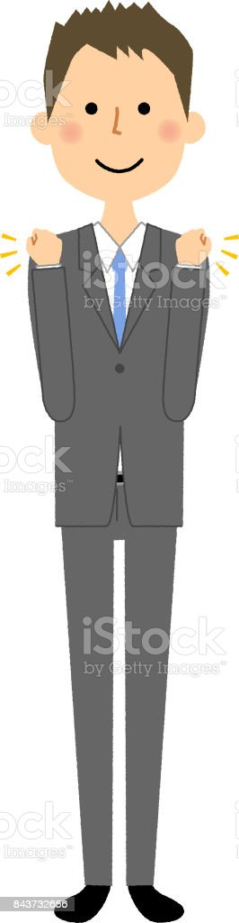 Businessman,Victory pose vector art illustration