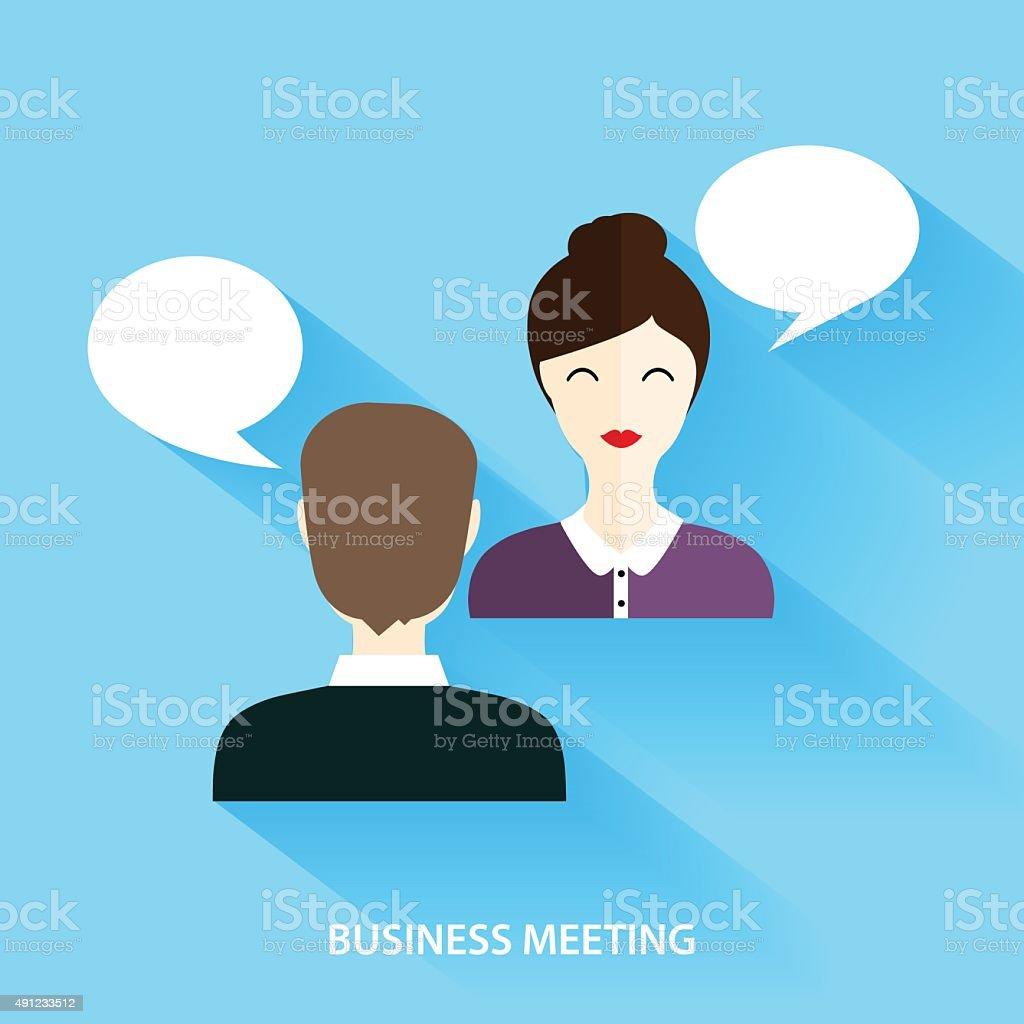 Businessmen and Businesswoman Having Informal Meeting. vector art illustration