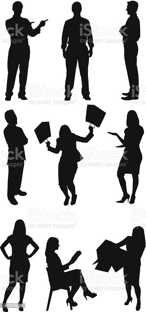 Businessmen and businesswomen doing different activities royalty-free stock vector art
