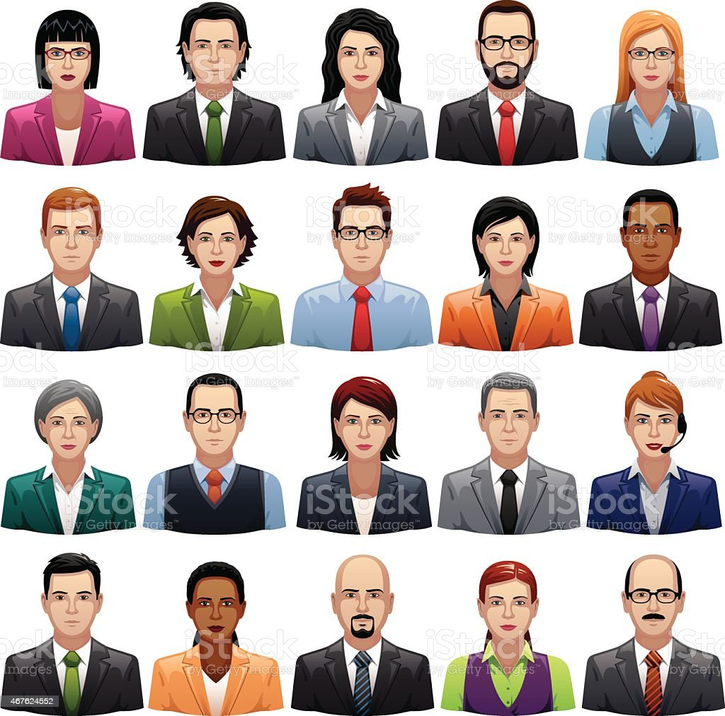Businessmen and Busineswomen Icons vector art illustration