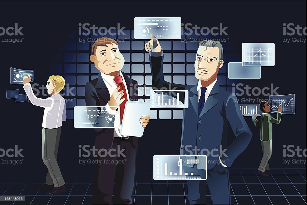 Businessmen and new technology royalty-free stock vector art