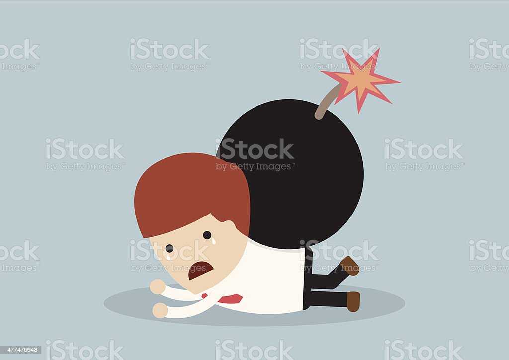 Businessmen and the bomb on his back royalty-free stock vector art