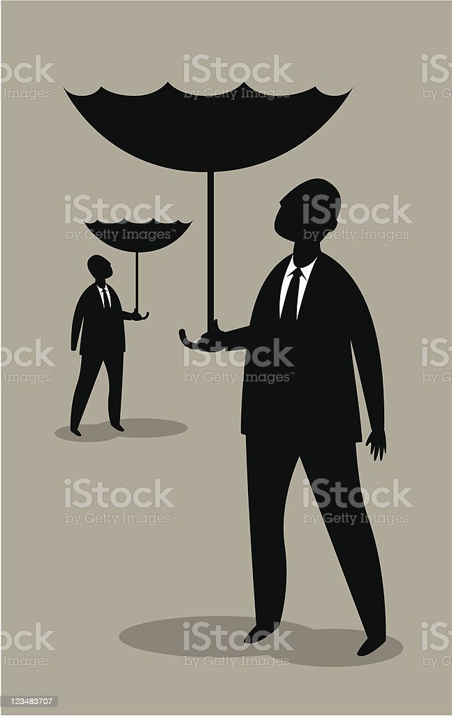 Businessmen And Umbrellas Up royalty-free stock vector art