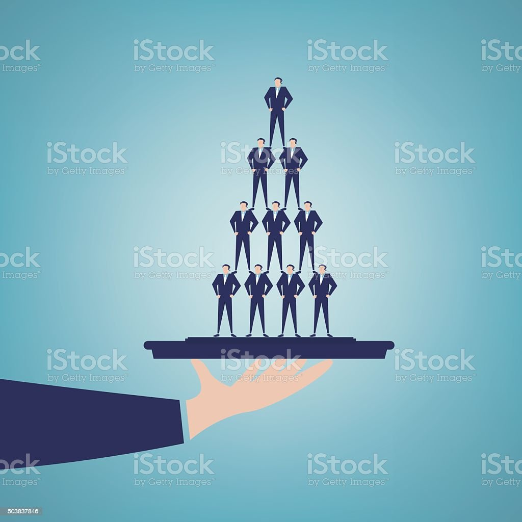 Businessmen assembled into a pyramid shape in the tray vector art illustration