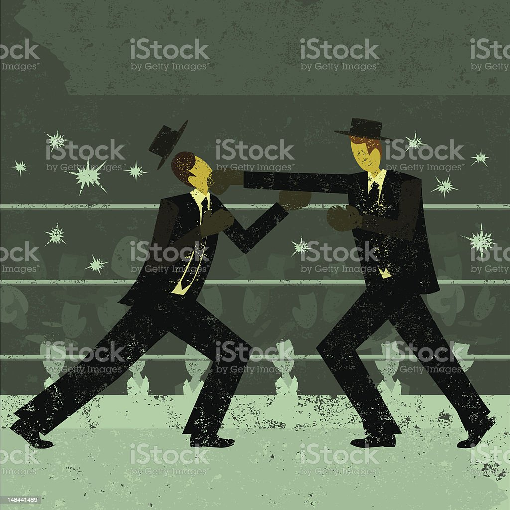 Businessmen boxing match royalty-free stock vector art