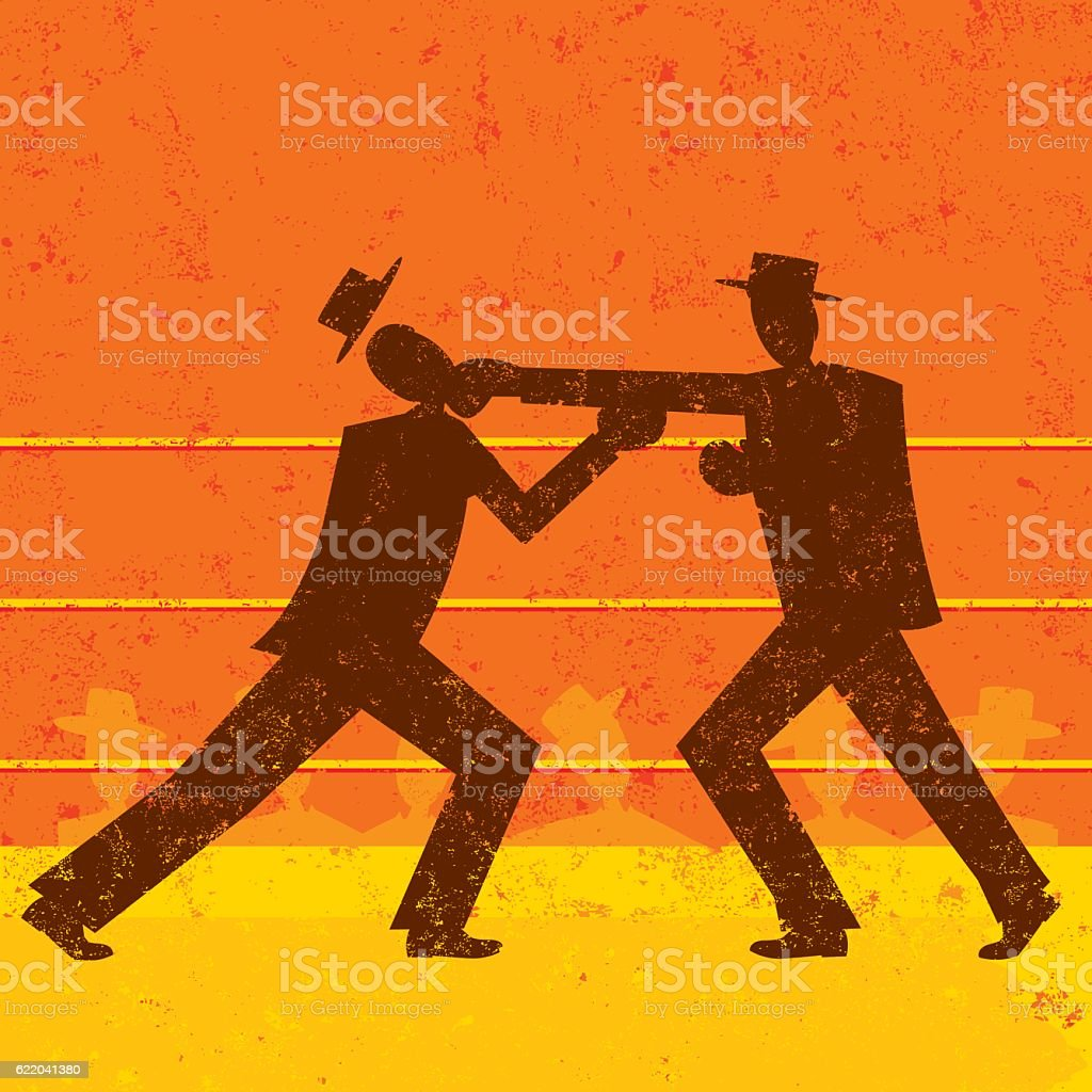 Businessmen boxing match vector art illustration