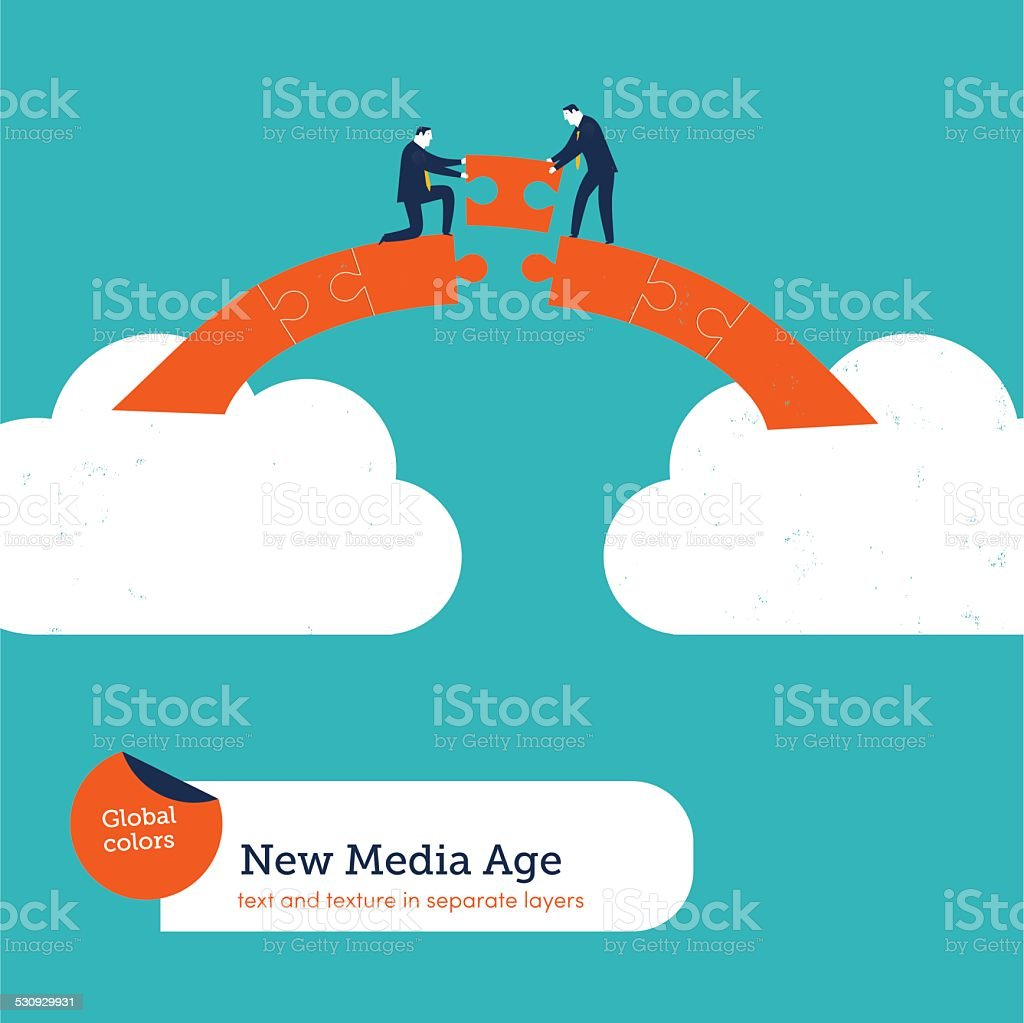 Businessmen building a puzzle bridge from cloud to cloud vector art illustration