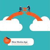Businessmen building a puzzle bridge from cloud to cloud