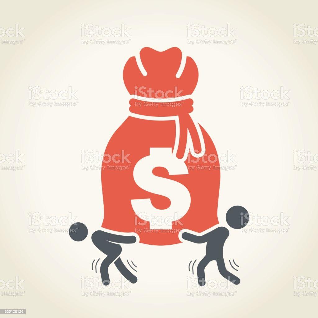 Businessmen Carrying Large Money Bag vector art illustration